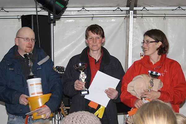 v.l. Jan Guttubakken (Platz 3), Michaela Kosel (Platz 1), Sonja Fritschi (Platz 2), © Ilka Fichtel