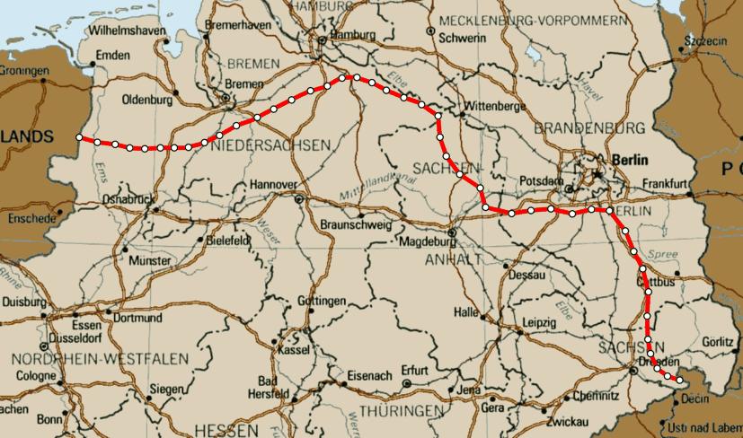 Strecke durch Deutschland