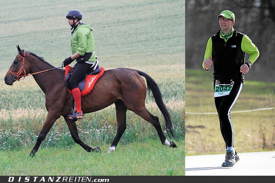 Marathon zu Pferd und Marathon laufen ergänzen sich sehr gut. Christian Lüke reitet Durchs Land der Franken und läuft Durchs Land der Oberpfalz, Fotos: Sabine Schirmer und Foto Viertbauer.at